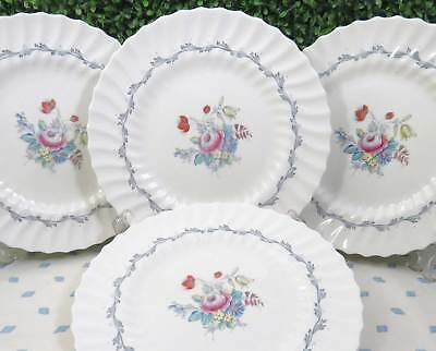 Set of 4 (or 8)  Vtg Royal Doulton Chelsea Rose English Bone China Dinner Plates