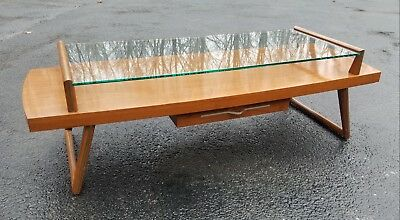 Vintage Mid Century Wood and Plate Glass Two-Tiered Coffee Table