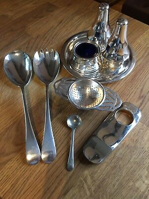 Job Lot Of Silver plate Items Including Tea Strainer