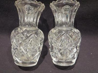 "Cristal D'Arques Pair Vintage 3.5"" Tall Bud Vase or Toothpick Holders w/stickers"
