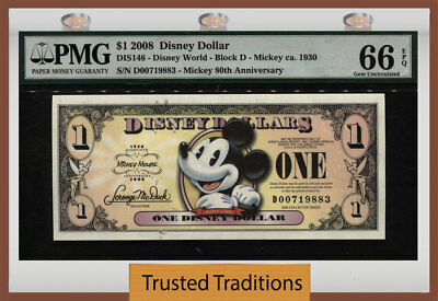 "Tt 2008 Disney Dollar $1 ""mickey"" Pmg 66 Epq The Happiest Note In The Hobby!"