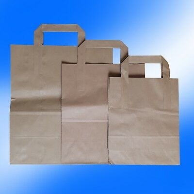 Brown Sos Kraft Paper Food Carrier Bags With Handles Takeaway, Lunch, Party Uses