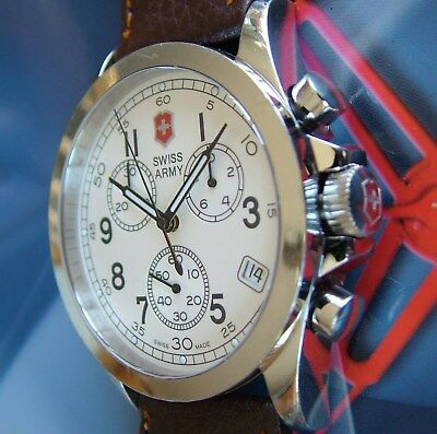VicTorINOX SWISS ARMY~INFANTRY CHRoNoGraPH CHRONO~SapPhiRe~CreAm DL~NEW LeatHer!