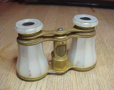 Antique MOTHER of PEARL FRENCH LEMAIRE PARIS OPERA GLASSES + BEE SYMBOL