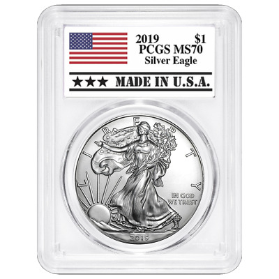 2019 $1 American Silver Eagle PCGS MS70 Made in USA Label