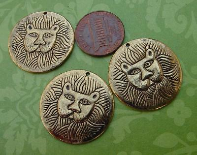 Vintage 26mm Laurel Burch Gold Tone Metal Lion Head Charms Pendants 3