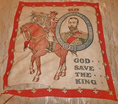 """Antique 1911 GEORGE V CORONATION FLAG BANNER or BUNTING 34"""" X 29"""" A/F"""