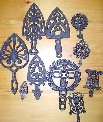 Vintage Cast Iron Footed Trivets LOT Sad Iron TEN Great Collection Sm & Lg Prim