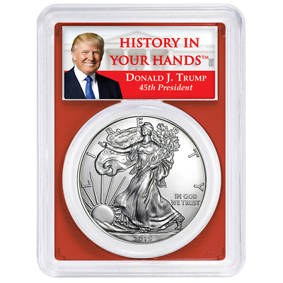2019 $1 American Silver Eagle PCGS MS69 Trump Label Red Frame