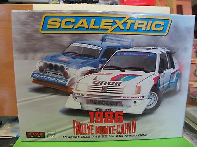 "Scalextric  Set:  "" 1986  Rally Monte-Carlo  ""  Peugeot 205 + MG Metro  C3590A"