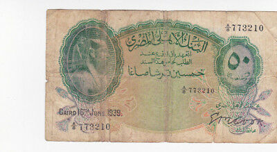50 Piastres Vg  Banknote From Egypt 1939!pick-21!