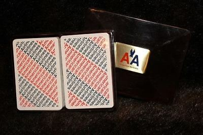 American Airlines Sealed Double Deck in Amber Holder Playing Cards