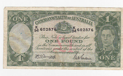 1 POUND FINE BANKNOTE FROM COMMONWEALTH OF AUSTRALIA 1942!PICK-26b!!!