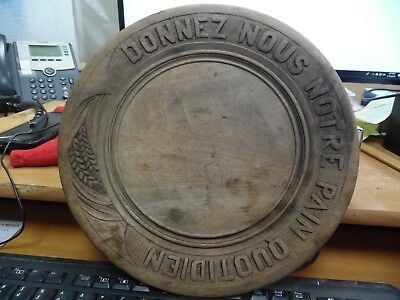 """French """"Donnez-Nous Notre Pain Quotidien""""-OurDaily Bread Wood Round Bread Board"""