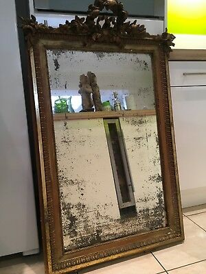 Lovely  Large Old French Gilt Wood Mirror With Original Glass,foxing To Glass