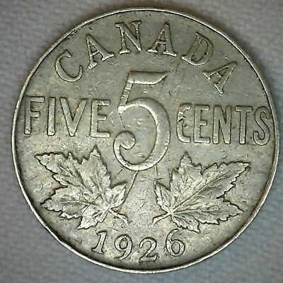1926 N6 Canadian Nickel 5 Cents Coin Five Cent George V Canada Type Coin VG #M14