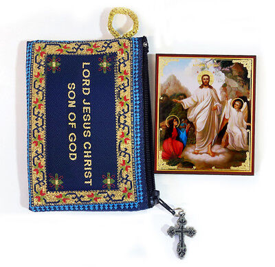 Tapestry Jesus Prayer Pouch & Russian Icon Resurrection of Christ Easter Gift