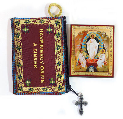 Tapestry Jesus Prayer Pouch With Resurrection of Christ Russian Icon Easter Gift