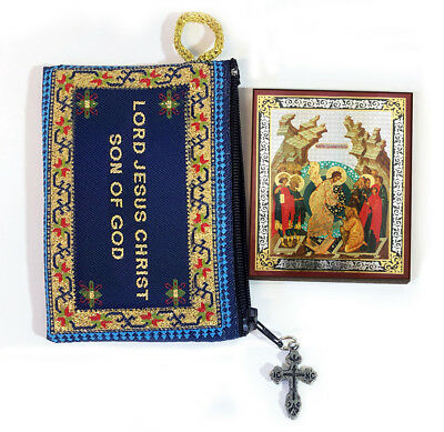Tapestry Jesus Prayer Pouch Russian Icon Resurrection Christ Saints Easter Gift