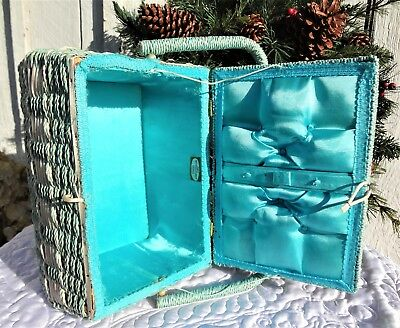 Vintage ~ Dritz ~ Sewing Basket ~ Woven W/handle ~ Turquoise ~ Price Reduced!!