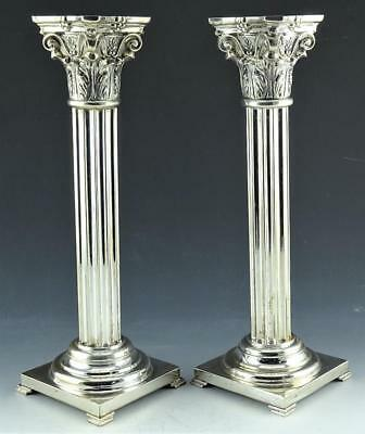 "Rare Pair Magnificent Antique Sterling Silver 12 3/4"" Corinthian Candlesticks"