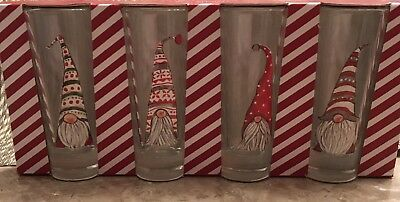 Sheffield Home Set of 4 Christmas Holiday Gnome Hats Tall Shooter Glasses