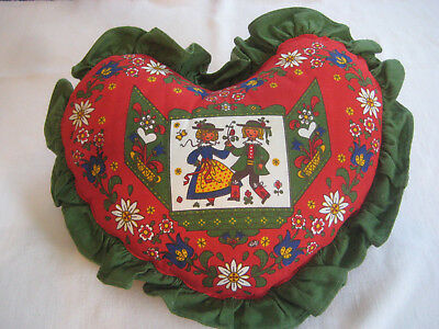 KOLF vintage throw PILLOW Austria Folk Art Heart shape couple red green 15""
