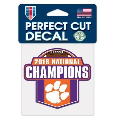 """Clemson Tigers 2018-2019 Football National Champions Perfect Cut Decal (4""""x4"""")"""