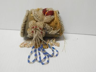 Antique Victorian Civil War Era Iroquois Indian Beaded Whimsey Box Style Pouch