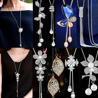 Women Elegant Long Necklace Pendant Chain Alloy Tassel Sweater Statement Jewelry