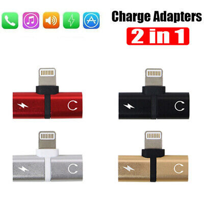 2 in 1 Dual Ports Splitter Adapter Aux Headphone Audio&Charge for Phone X 7 8 XR