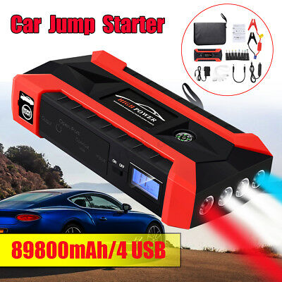 4 USB Portable Car Jump Starter Pack Booster Charger 89800mAh Battery Power Bank