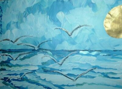 original painting art By Artist PB impressionist abstract seascape blue