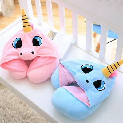 New Cartoon Unicorn Neck Rest U-Shaped Travel Hooded Pillow Cushion Compact Soft