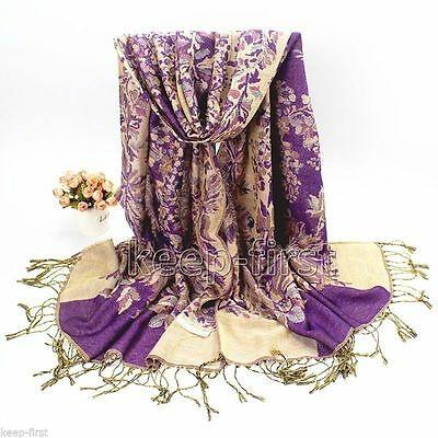Purple Fashion Women's Long Soft Floral Pashmina Shawl Wrap Stole Cashmere Scarf