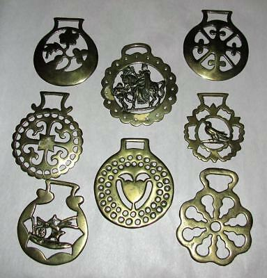 8 Vintage English Solid  Brass Horse Bridle Medallions