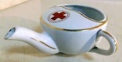 Antique WWI Era Red Cross Porcelain Infant or Invalid Feeder Cup, Germany c1910s