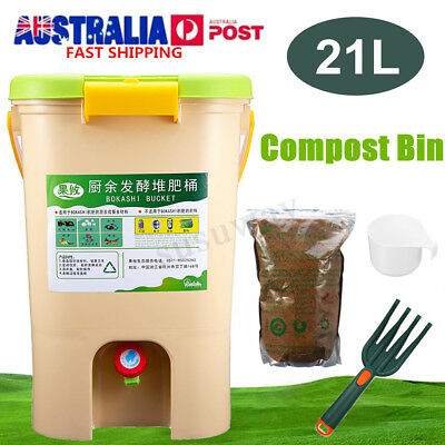 21L Set Recycle Composter Aerated Compost Bin Bokashi Bucket Kitchen Food Waste