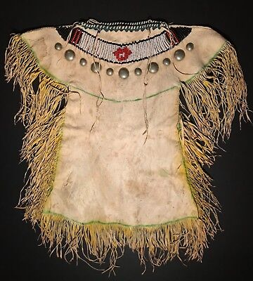 Spectacular PLAINS FULLY FRINGED LEATHER DRESS,SILVER BUTTONS,BEADED,OCHRE DYED