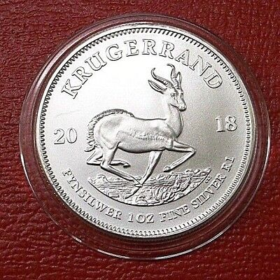 2018 South Africa 1 oz Silver Krugerrand .999 Fine Silver 1 Rand in Capsule