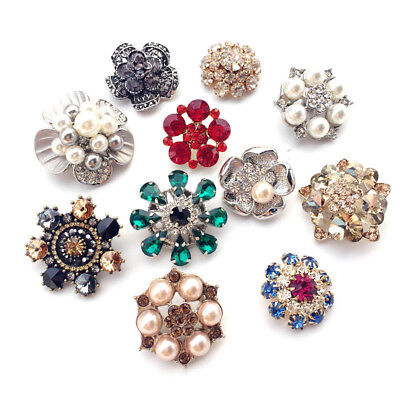 Exquisite Crystal Buttons Pearl Rhinestone Button Bling Alloy Flatback for Dress