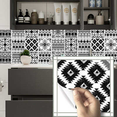 10pcs Black White Moroccan Self-adhesive Bath Kitchen Wall Stair Tile Sticker