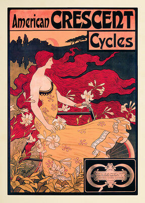 American Crescent Cycles Fahrrad Jugendstil Ramsdell Rote Haare Plakate A1 395