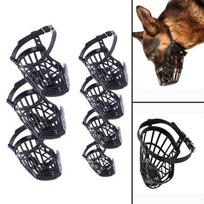Dog Pet Muzzle Mouth Mesh Mask Cover Basket No Barking Chewing Biting Black IN9Z