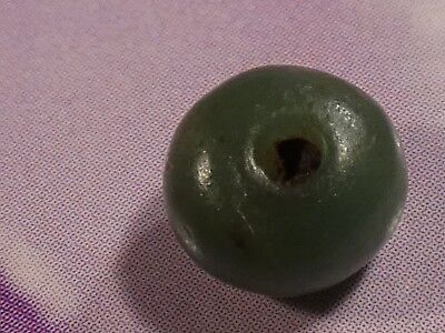 Ancient Pyu Rare Green Chalcedony Round Disc Shape Bead 7.4 By 5.4 Mm