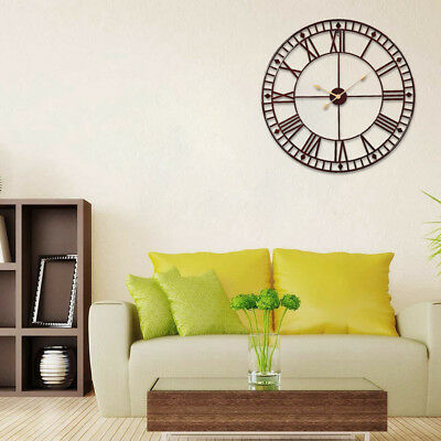80cm Large Wall Clock Roman Round Face Metal Skeleton Numerals Big Outdoor House