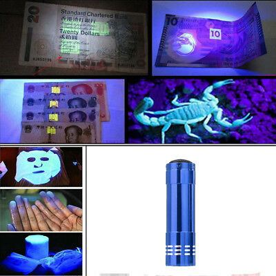 Mini Aluminum UV Ultra Violet 9 LED Flashlight Blacklight Torch Light Lamp YH