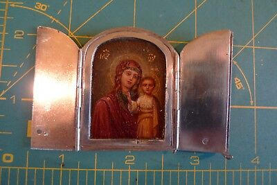 Imperial Russian Miniature Icon In Silver Case. Marked Pb