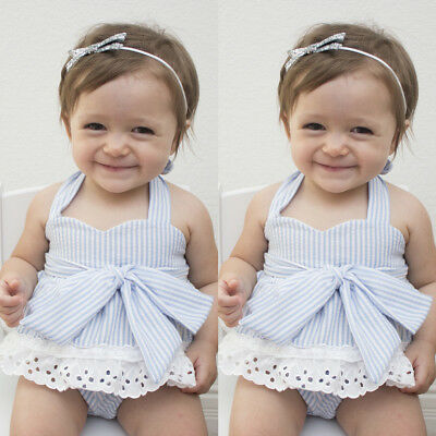 UK Stock Newborn Infant Baby Girl Bowknot Sleeveless Cute Romper Clothes Outfit