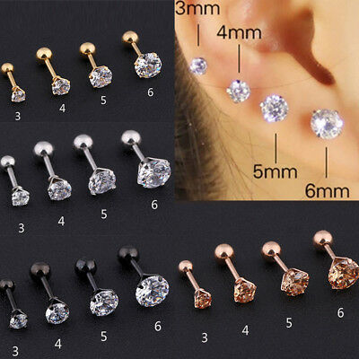 1Pcs 3/4/5mm CLEAR ROUND CUT CZ GEM 316L SURGICAL STAINLESS STEEL STUD EARRINGS